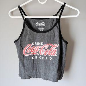 Coca Cola strappy gray crop tank top